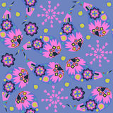 Paisley seamless floral blue and pink colors  pattern. It is loc Stock Photo