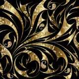 Paisley seamless gold floral pattern. Vector abstract ornate bac. Kground wallpaper with gold hand drawn paisley flowers, leaves, lines, swirls, curves and stock illustration