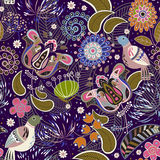 Paisley seamless pattern with birds Royalty Free Stock Images
