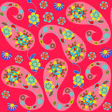 Paisley seamless pattern with cute abstract Paisley and flowers Royalty Free Stock Images