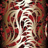 Paisley seamless pattern. Floral red black ornamental background Royalty Free Stock Photography