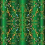 Paisley seamless pattern. Green 3d background. Paisleys floral seamless pattern. Green background wallpaper illustration with vintage hand drawn colorful 3d Stock Photos