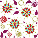 Paisley seamless pattern and seamless pattern in swatch menu, ve. Ctor  illustration Royalty Free Stock Photo