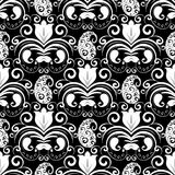Paisley seamless pattern. Vector black and white floral backgrou. Nd with patterned paisley flowers, swirls, dots, tulips, curve lines, vintage ornaments stock illustration