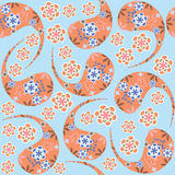 Paisley seamless pattern in vintage colors and sea Stock Photography