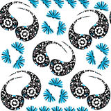 Paisley seamless pattern in white, blue, black colors and seamle Stock Images