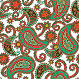 Paisley Seamless Texture. Seamless Paisley background.Colorful flowers and leafs on white background. Vector illustration Royalty Free Stock Image