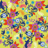 Paisley seamless texture. With colorful flowers and leafs Stock Image