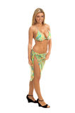 Paisley Sequin Bikini Blonde. Sexy blond swim wear model in a green yellow and blue sequin embellished bikini and sarong Stock Photo