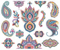 Paisley set. Oriental decorative design elements for fabric, prints, wrapping paper, card, invitation, wallpaper. Stock Images
