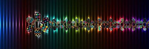 Paisley simply shape colorful horizontal banner RGB Royalty Free Illustration