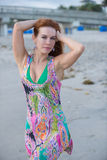 Paisley type dress on the beach Stock Photography