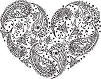Paisley vector heart. Henna menhdi paisley heart  design Stock Photo