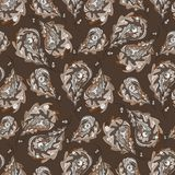 Paisley vector seamless pattern. Brown abstract oak leaves background. Hand drawn leaf texture for wallpaper, wrapping. Hand drawn Paisley vector seamless royalty free illustration