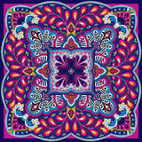 Paisley vector square kerchief pattern. Vector illustration of oriental indian kerchief ornament Stock Photography