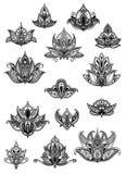 Paisley vintage flower motifs set Stock Photography