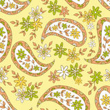 Paisley Yellow Summer Floral Textile Pattern. Stock Images