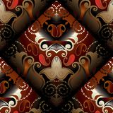 Paisleys seamless pattern. Vector dark red floral background.   Royalty Free Stock Photos
