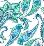 Paisleys on white background pattern. watercolor illustration. Seamless paisleys design on white background. detailed ink illustration. very beautiful gentle Stock Image