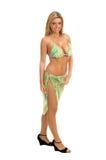 Paisleysequin-Bikini-Blondine stockfoto