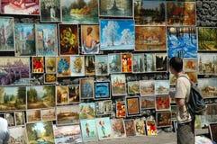 Paitings για την πώληση στην παλαιά πόλη της Κρακοβίας, Πολωνία Στοκ εικόνα με δικαίωμα ελεύθερης χρήσης