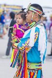 Paiute Tribe Pow Wow. LAS VEGAS - MAY 24 : Native American man holding his daughter at the Annual Paiute Tribe Pow Wow on May 24 , 2015 in Las Vegas Nevada. Pow royalty free stock images