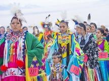 Paiute Tribe Pow Wow. LAS VEGAS - MAY 24 : Native American women takes part at the 26th Annual Paiute Tribe Pow Wow on May 24 , 2015 in Las Vegas Nevada. Pow wow royalty free stock photo