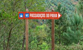 Road sign for the famous Paiva walkway in Portugal royalty free stock images