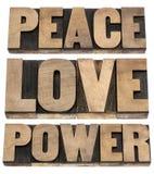 Paix, amour, mots de pouvoir Photo libre de droits