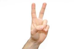 Paix de signe de paume de deux doigts d'isolement Photo libre de droits