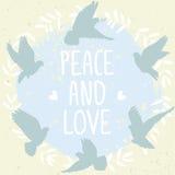 Paix et amour de colombes Photo stock