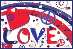 Paix et coeurs d'amour dans blanc et bleu rouges Images stock