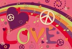 Paix et coeurs d'amour dans le rose Photo stock