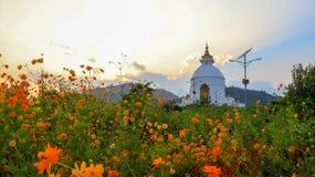 Paix Stupa du monde, également connu sous le nom de Shanti Stupa dans Pokhara photographie stock libre de droits