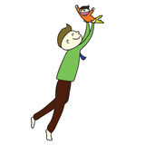 Paizinho bonito dos desenhos animados desenhados mão Imagens de Stock