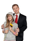 Paizinho com uma filha adolescente foto de stock royalty free