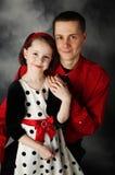 Paizinho e filha vestidos acima fotografia de stock royalty free