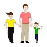 Paizinho feliz que guarda filhos pequenos e grandes do braço ilustração stock