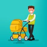 Paizinho novo que anda com um recém-nascido que esteja no carrinho de criança Vetor Fotos de Stock