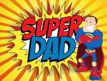 Paizinho super do herói do homem. Pai feliz Day ilustração royalty free