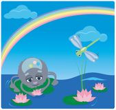 Pająk i Dragonfly z tęczą royalty ilustracja