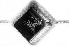 Pająk sieć zakrywająca z rosą wśrodku kwadratowej betonowej siatki Zdjęcie Stock
