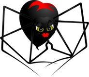Pająk czarna wdowa z czerwonym symbolem na plecy Obrazy Royalty Free