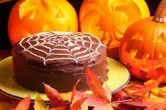 Pająk sieci czekoladowy tort Zdjęcia Royalty Free