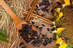 Paja, semillas, semillas de girasol Imagenes de archivo