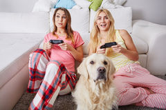 Pajama party with dog. Two happy girls having pajama party playing video games and a dog Royalty Free Stock Photo