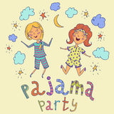 Pajama party. Funny kids and hand drawn lettering with stars, crescent and clouds. Royalty Free Stock Photo