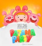 Pajama party invitation card with cartoon emoji characters Royalty Free Stock Image