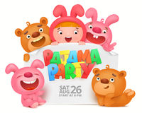 Pajama party invitation card with cartoon funny characters. Vector illustration Stock Image