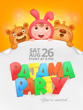 Pajama party invitation card with cartoon funny characters. Stock Images